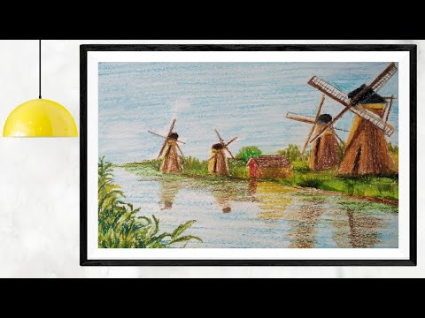 Holland Windmills Landscape Painting   Oil Pastel Drawing for Beginners Easy   How to Draw Windmills