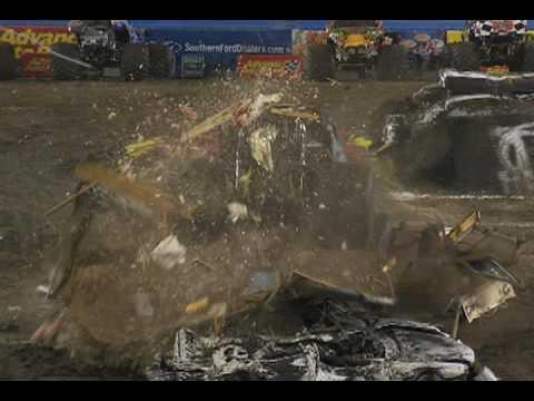 Monster Jam - Monster Jam Monster Truck Smashes a Boat