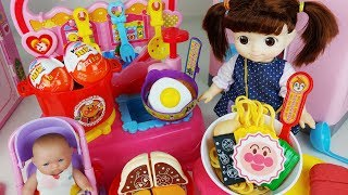 Ramen kitchen and baby doll food cooking toys Surprise eggs play - 토이몽