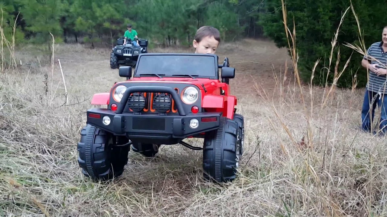 Trail Riding Power Wheel Ride On Jeep Wrangler Polaris Arctic Cat Wheels Outdoor Activities For Kids Youtube