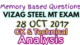 VIZAG STEEL RINL MT EXAM 28 OCTOBER 2017, ANALYSIS, General Knowledge & Mechanical Questions Asked