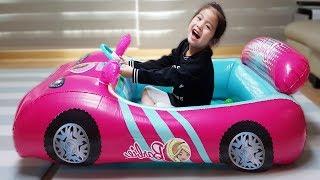 집안에서 자동차를 타면 안되요!! 서은이의 바비 자동차 튜브 타요 버스 전동 오토바이 Barbie Car Tube Toys for Kids