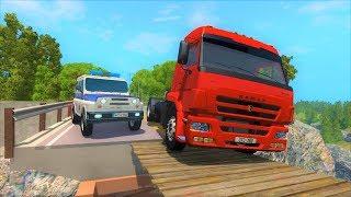 Патруль ДПС на УАЗе и Камаз нарушитель проезжает подвесной мост в игре BeamNG.Drive