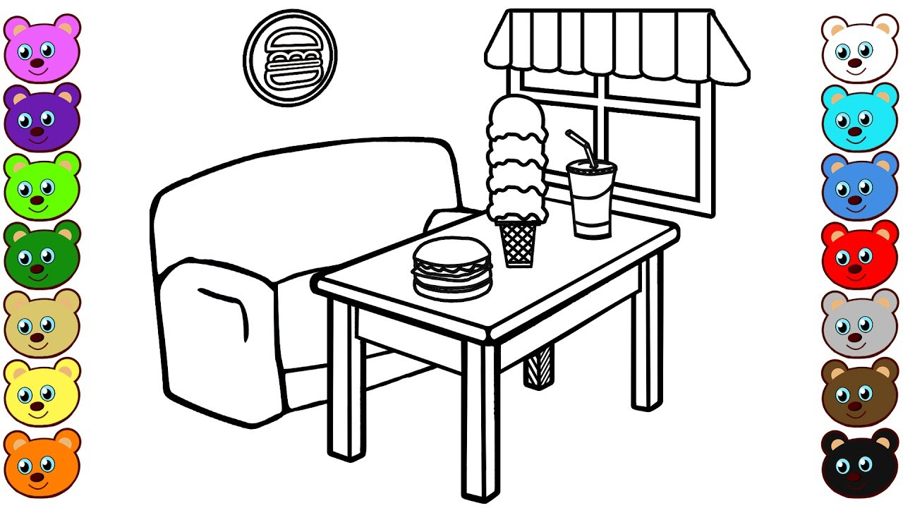 Learn Colors For Kids With Fast Food Restaurant Coloring