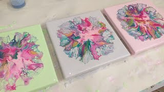 🌸 'Happy' Carnation Triptych 🌸 how to pour pink & green without getting brown 😀Dutch pour, fluid art