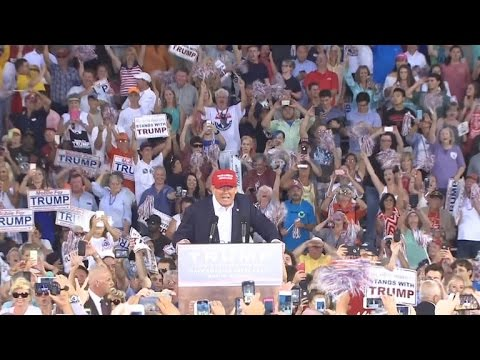 President Donald Trump receives rousing welcome from crowd at ...