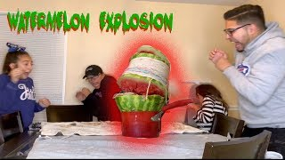 EXPLODING WATERMELON CHALLENGE - RUBBER BAND ENERGY SCIENCE  EXPERIMENT