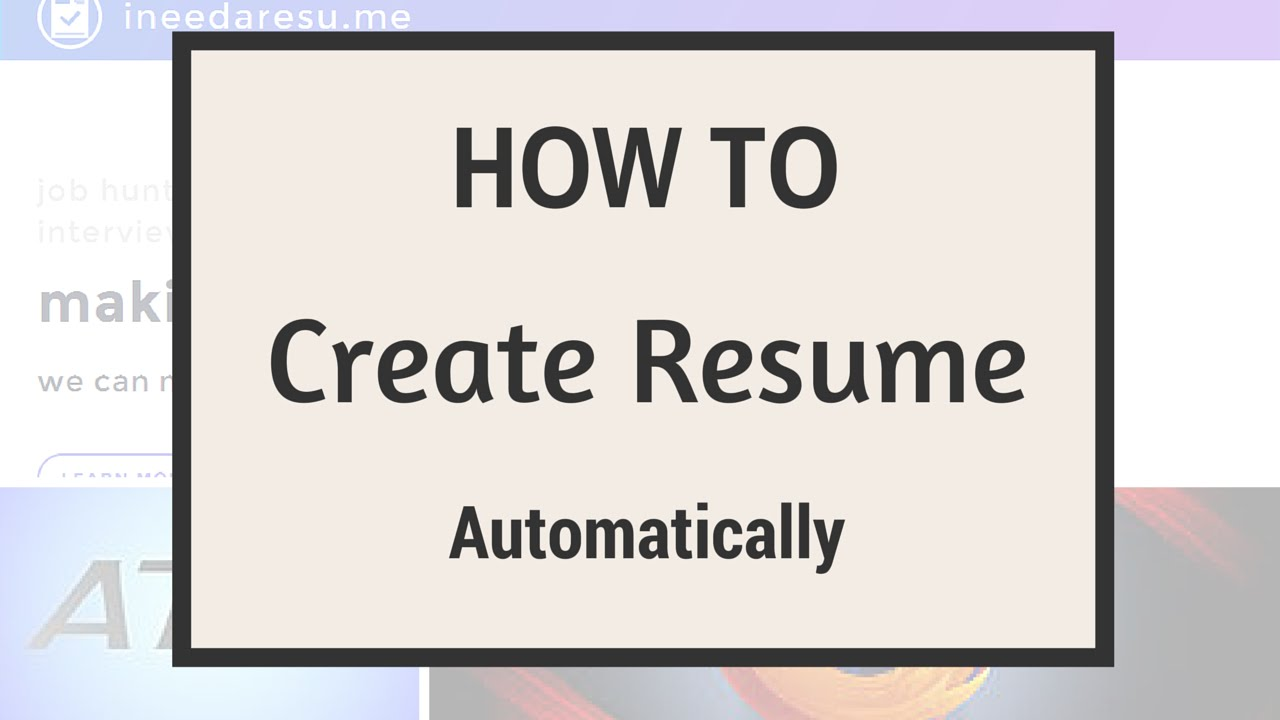 How To Create Your Resume Online Automatically - YouTube