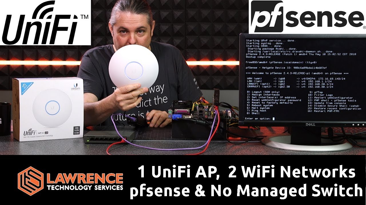 How to Have One UniFi AP-AC-LR & Two WiFi Networks with pfsense, VLANS, &  No Managed Switch