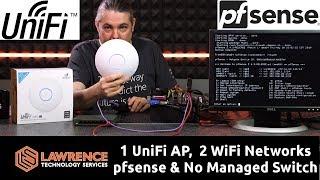 كيف يكون واحد UniFi AP-AC-LR & اثنين من شبكات واي فاي مع pfsense, VLANS, & لا المدارة التبديل.