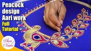 Aari peacock design | Hand embroidery peacock design neck blouse | maggam work