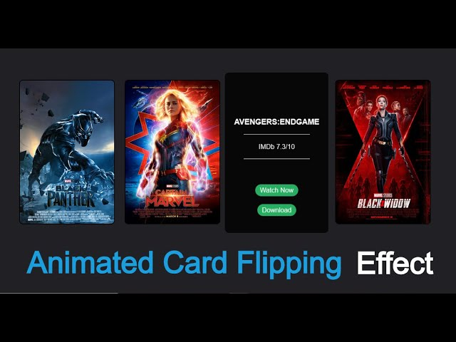 Animated Movie Card Flipping Tutorial Using HTML & CSS