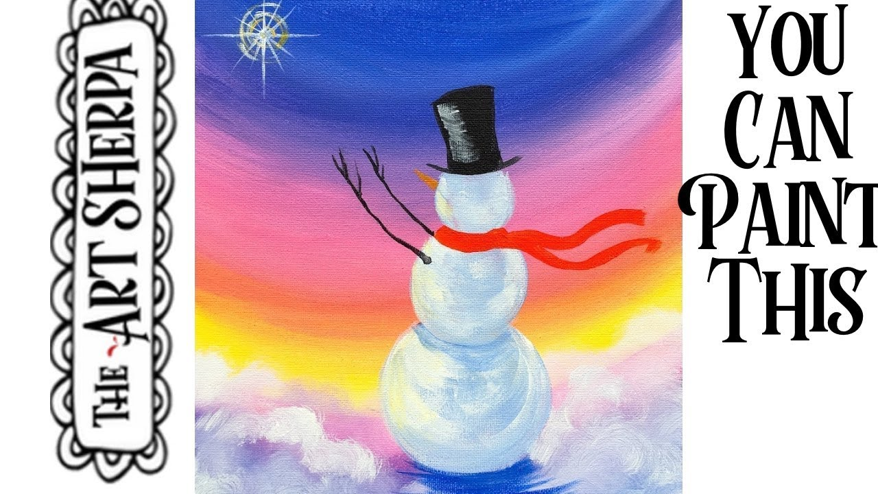 Simple SNOWMAN Christmas Step By Acrylic Painting On Canvas For Beginners