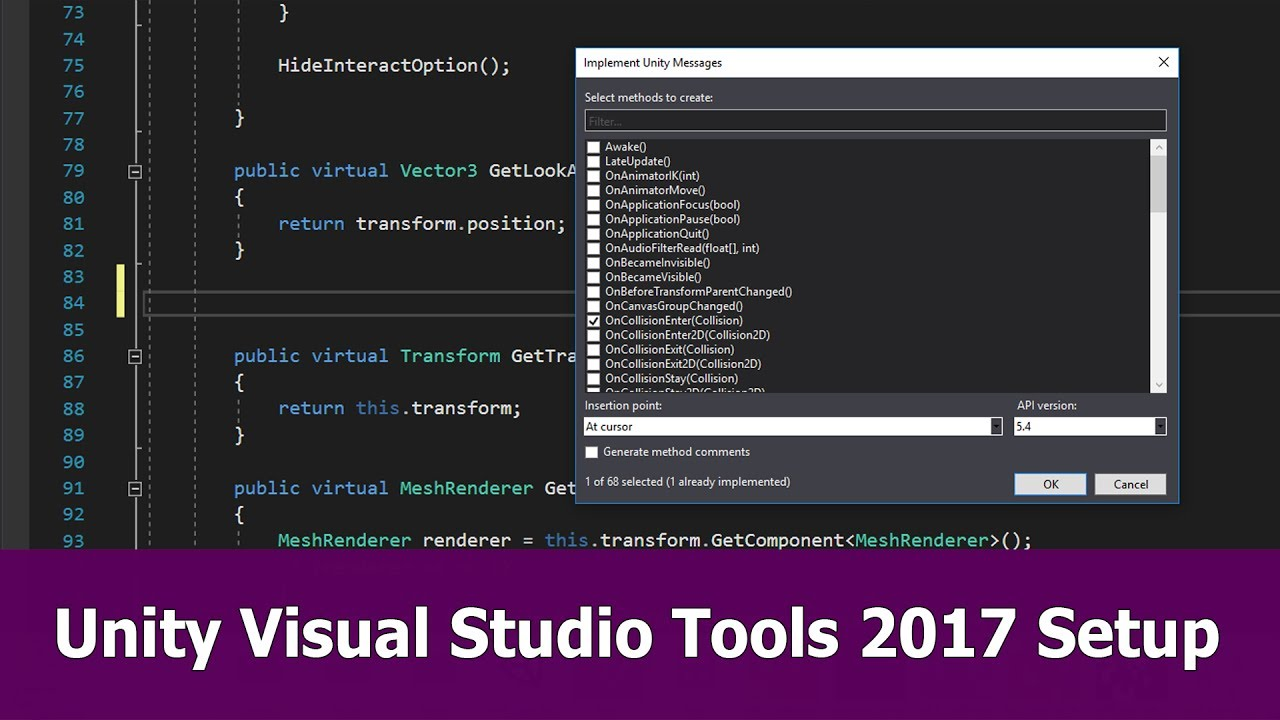 Unity Visual Studio 2017 Setup & Tools