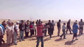 The joy of the people in the first drilling site the new Suez Canal in September 2014