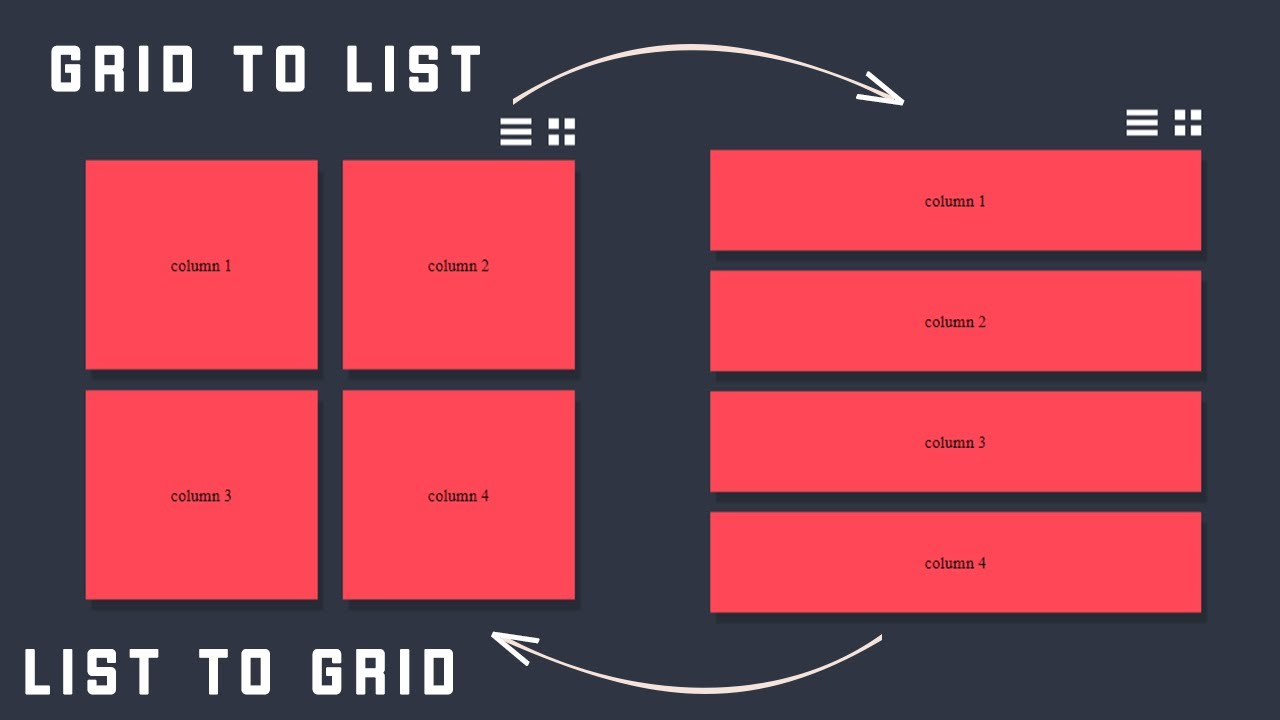 How To Create List View And Grid View Using Javascript
