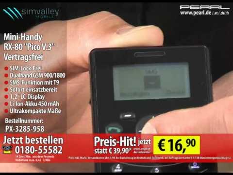 "simvalley MOBILE Mini-Handy RX-80 ""Pico V.3"" VERTRAGS- & SIM-Lock-frei"