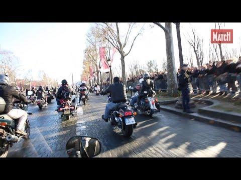 Johnny Hallyday, l'hommage En Harley-Davidson des bikers sur les Champs-Elysées