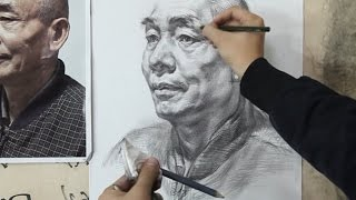 Realistic Pencil Drawing Portrait Old men