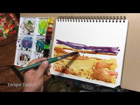 """Watercolor, """"Abstract"""" Landscape sketch, Lake, Artistic techniques, ENRIQUE ZALDIVAR"""