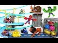 Friends got caught in Paw Patrol Mountain Rescue Track! Go! Marvel Hulk, Spider Man! - DuDuPopTOY