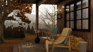 Relaxing Autumn Rainy Day Ambience  Gentle Rain on Terrace   Sounds for Sleep, Study and Relaxation