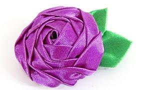 Cómo hacer una rosa con cinta. How to make a ribbon rose.