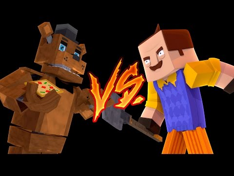 Minecraft HELLO NEIGHBOR VS FREDDIE - DONUT IS THE NEIGHBOR & TINY TURTLE IS FREDDIE - Donut the Dog