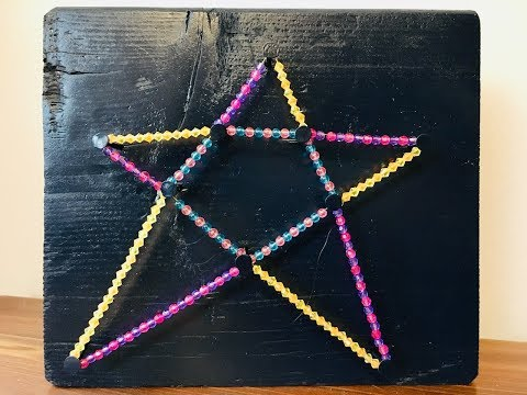 Kid Project: Simple DIY Beaded Star with nails wood and string.