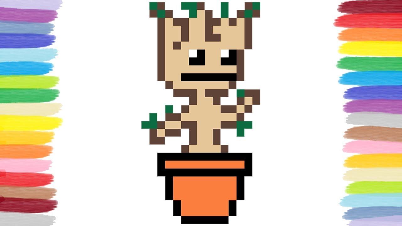 How To Draw Dancing Baby Groot Pixel Art