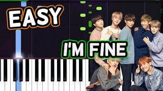 """BTS (방탄소년단) -""""I'm Fine"""" 100% EASY PIANO TUTORIAL"""