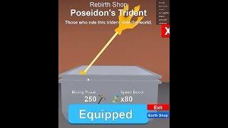 Roblox mining simulator 2000 tokens ile Poseidon's Trident aldım !!!