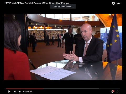 TTIP and CETA - Geraint Davies MP at Council of Europe