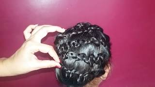 latest Party Twisted New Bun Hairstyle#Easy Hairstyle#Wedding hairstyle for medium\long hair
