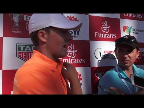 Jordan Spieth chats after round one the 2017 Emirates Australian Open