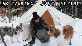 Winter Hot Tent Camping with My Dogs (ASMR - NO TALKING)
