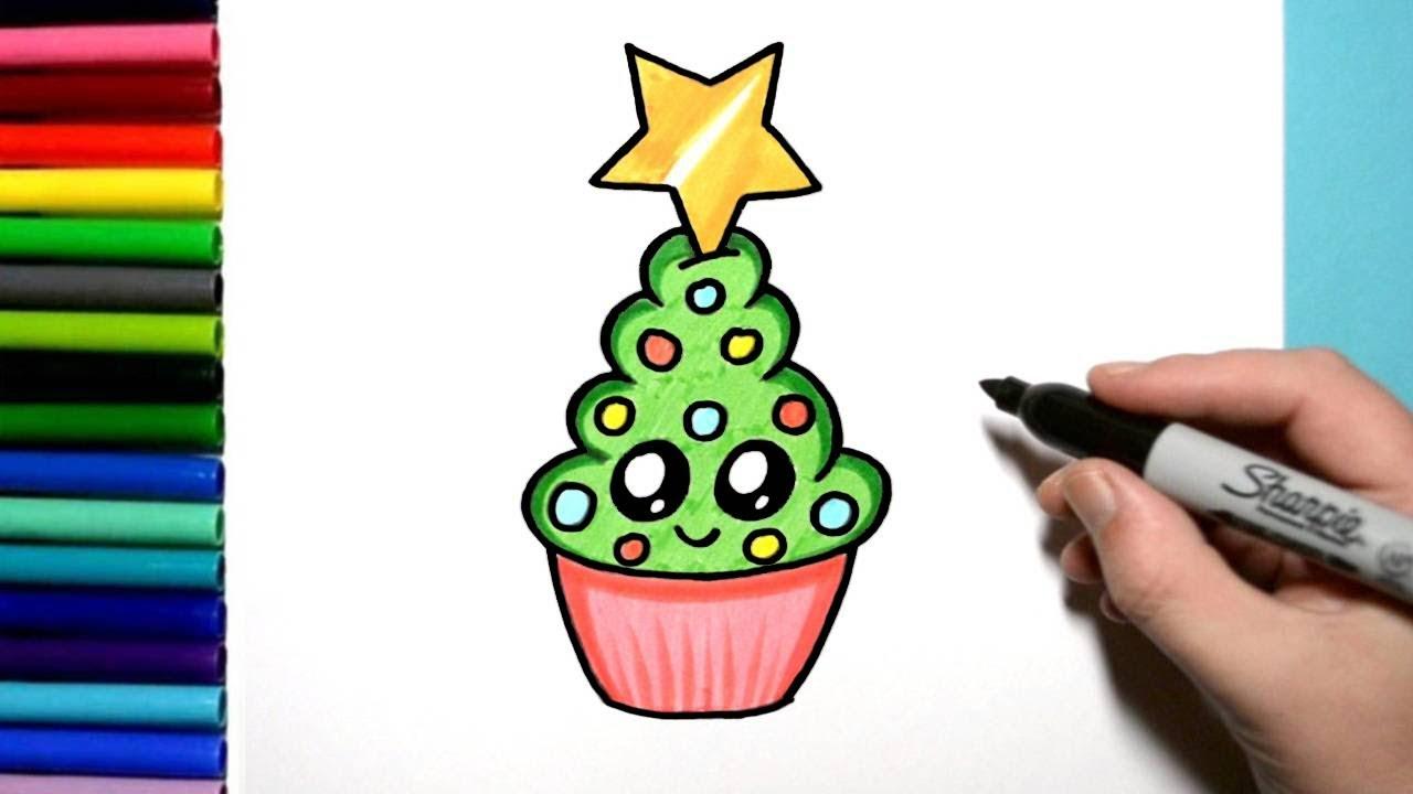 How To Draw A Cute Christmas Tree Cupcake Kawaii Style Youtube Set of kawaii style cartoon christmas trees isolated on white background. how to draw a cute christmas tree cupcake kawaii style