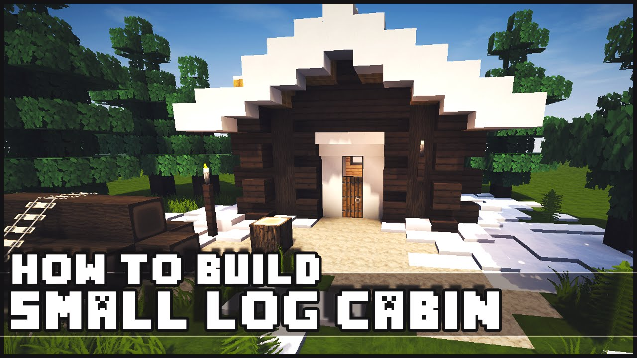 Minecraft how to build simple small log cabin youtube for How to build a small lake