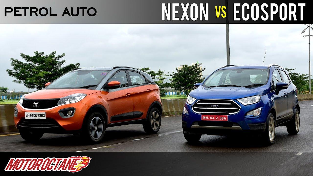 Tata Nexon Petrol Amt Vs Ford Ecosport Auto Comparison Hindi Motoroctane