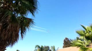 Royal Canadian Air Force Jets known as the Snowbirds flying around my house.