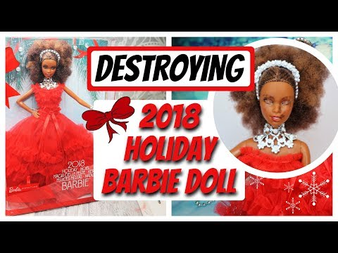 DESTROYING AND REPAINTING 2018 HOLIDAY BARBIE DOLL / HOW TO DRAW A NEW DOLL FACE SPEEDPAINT TUTORIAL