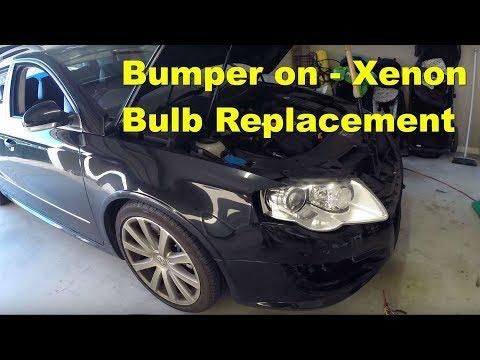 Volkswagen Passat 3C R36 Xenon Headlight Bulb Change - BUMPER ON!