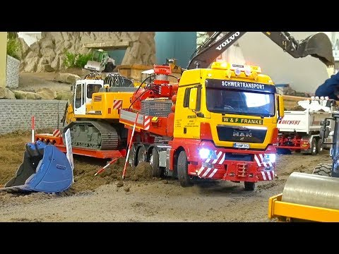 HEAVY HAULAGE RC TRUCK TRANSPORTING LIEBHERR 944 DEMOLITION! MAN! STONEBREAKER-AREA!