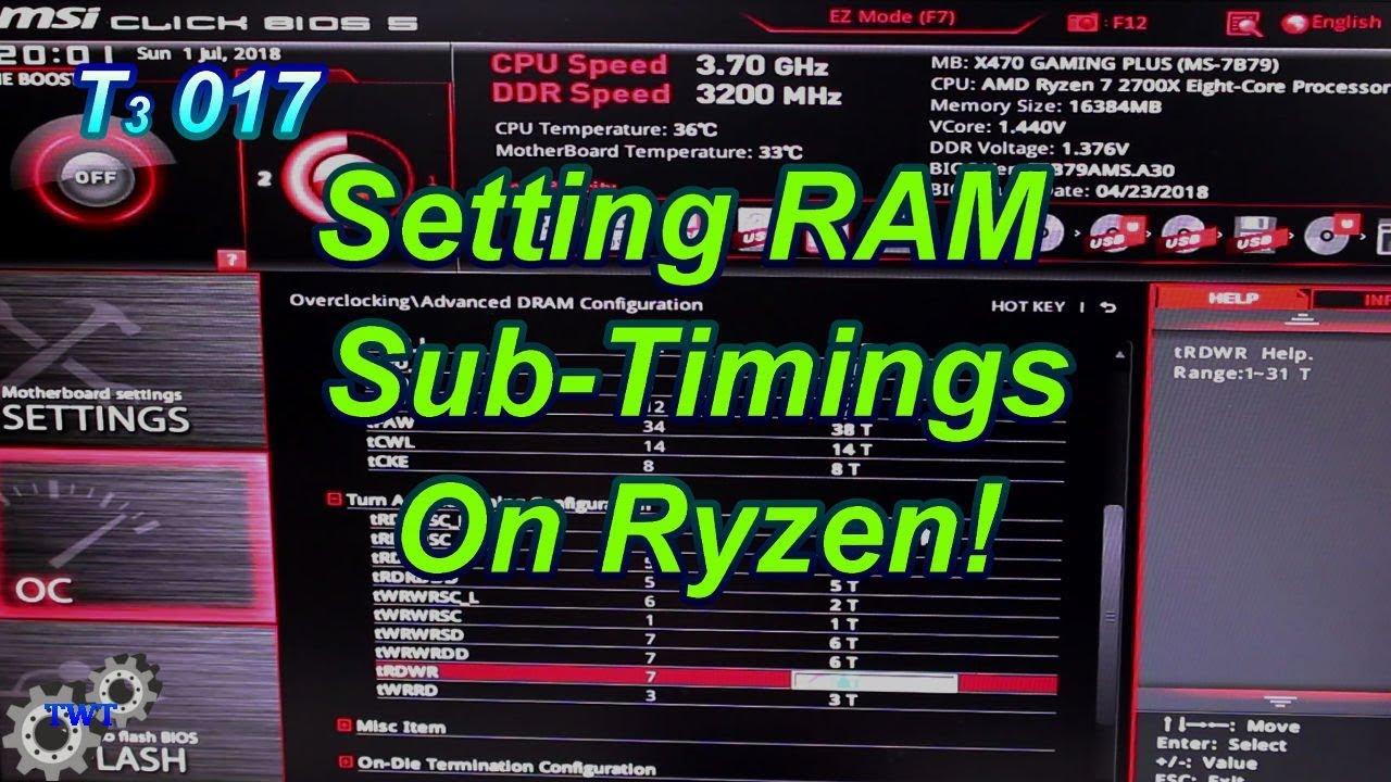 How to Set Ram Subtimings on Ryzen CPUs!   T3 017
