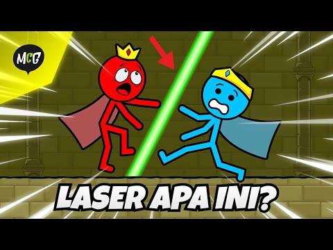 Stickman Air dan Api Akan Mengalahkan Laser Itu! - Red and Blue Stickman : Animation Parkour