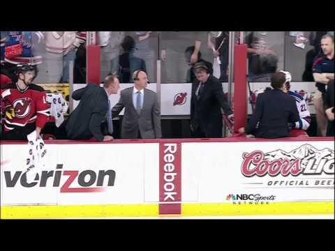 Mike Rupp roughing Marty Brodeur. NY Rangers vs  New Jersey Devils Game 4 5/21/12 NHL Hockey