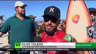Surfer Filipe Toledo gets emotional after dominating Rio Pro