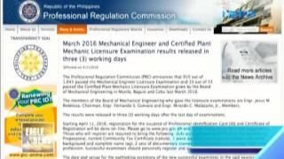 PRC releases results of mechanical engineering licensure exam