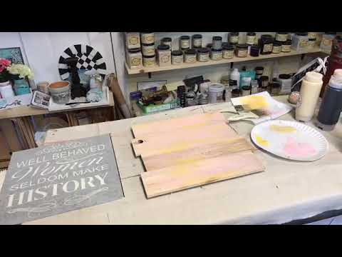 Making an Pallet Wood Sign Using an Adhesive Vinyl Stencil and Dixie Belle Paint
