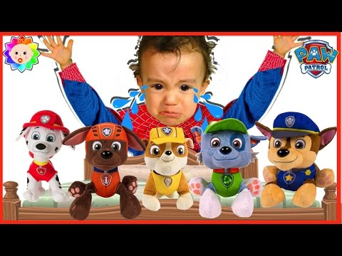 Thumbnail: 5 Little Monkeys jumping on the Bed - Baby Child Crying & LEARN COLORS with Paw Patrol Nursery Rhyme